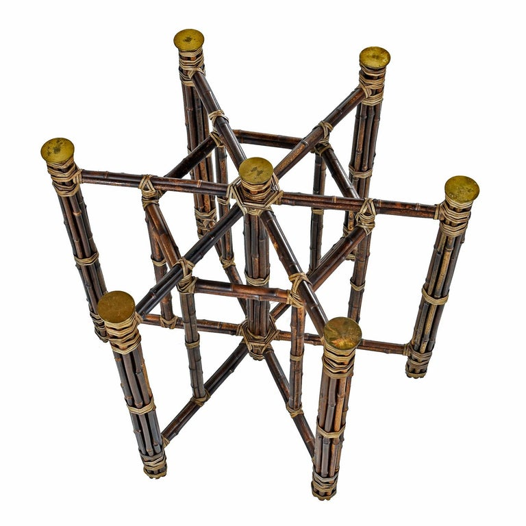 American McGuire Dining Table, Rattan and Brass Base with Hexagon Glass Top For Sale