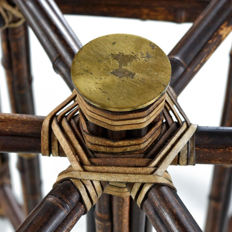 Mid-20th Century McGuire Dining Table, Rattan and Brass Base with Hexagon Glass Top For Sale