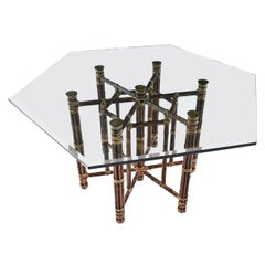 McGuire Dining Table, Rattan and Brass Base with Hexagon Glass Top