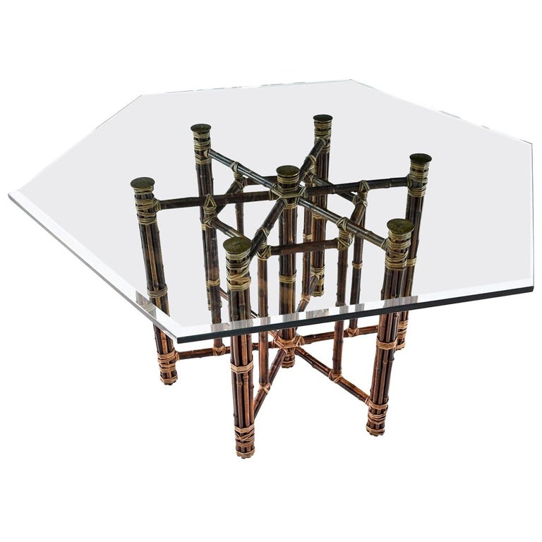 McGuire Dining Table, Rattan and Brass Base with Hexagon Glass Top For Sale
