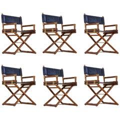 McGuire Director Chair, Vintage Dark Blue Suede Leather, Oak and Brass