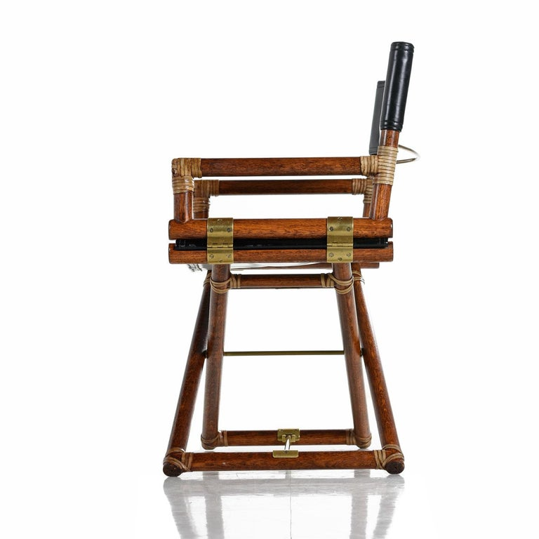 American McGuire Director Chair X-Chair, Vintage Black Leather, Oak and Brass For Sale