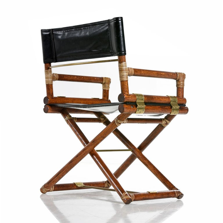 McGuire Director Chair X-Chair, Vintage Black Leather, Oak and Brass In Excellent Condition For Sale In Saint Petersburg, FL