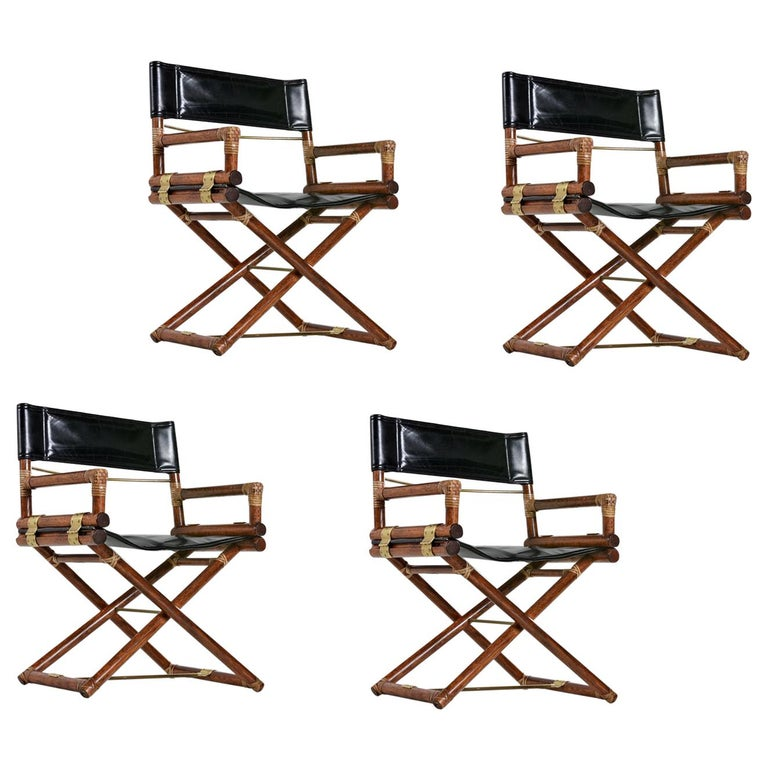McGuire Director Chair X-Chair, Vintage Black Leather, Oak and Brass For Sale