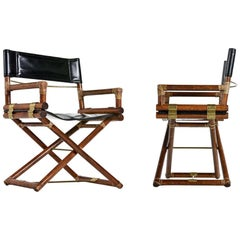 McGuire Director Chair X-Chair, Vintage Black Leather, Oak and Brass