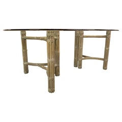 McGuire Double Pedestal Rattan Dining Table