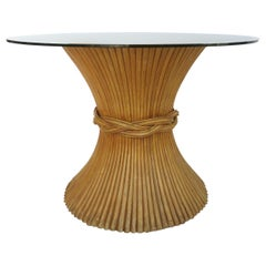 McGuire Furniture Sheaf of Wheat Dining Table with Glass Top