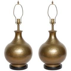 McGuire Hammered Bronze Lamps
