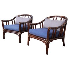 McGuire Hollywood Regency Mid-Century Modern Bent Rattan Lounge Chairs, Pair