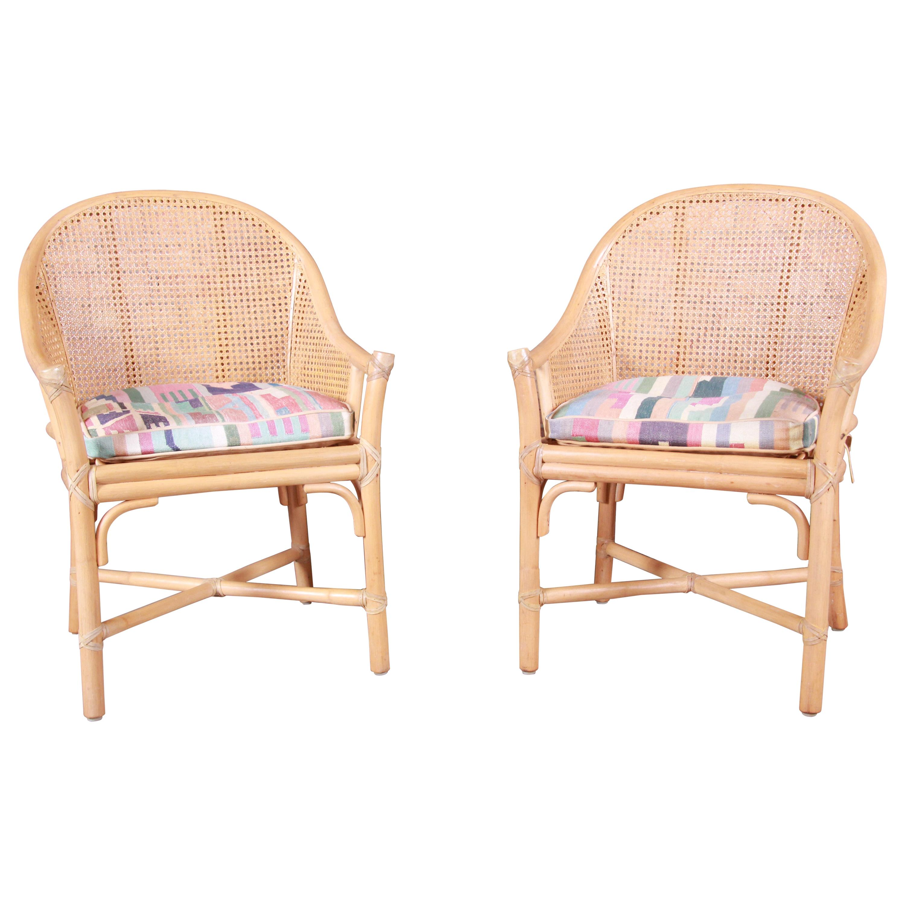 McGuire Hollywood Regency Organic Modern Bamboo and Cane Club Chairs, Pair