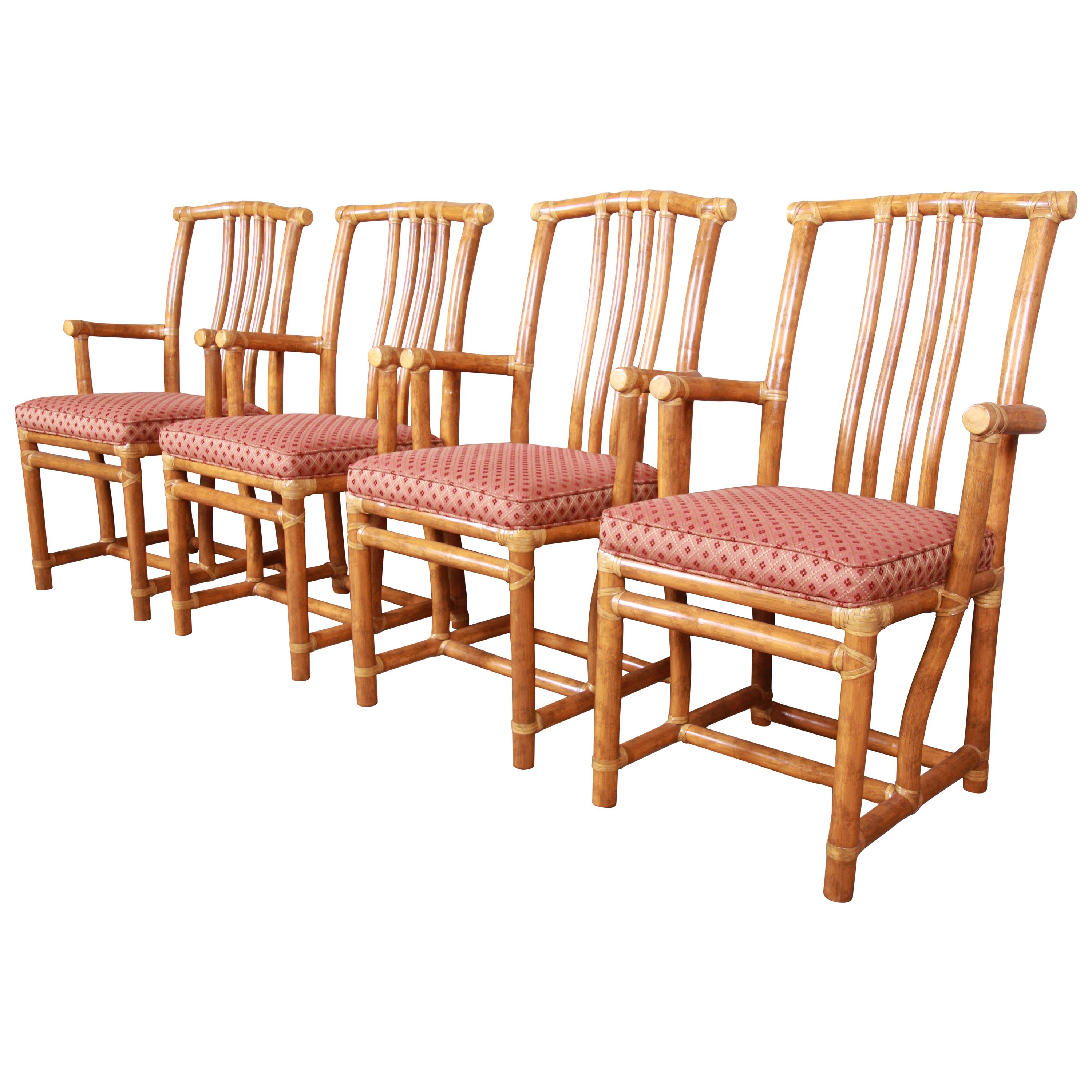 McGuire Hollywood Regency Organic Modern Bamboo Rattan Armchairs, Set of Four