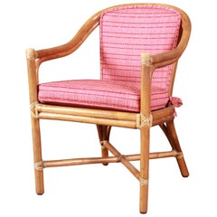 McGuire Hollywood Regency Organic Modern Bamboo Rattan Club Chair
