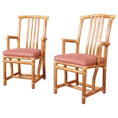 McGuire Hollywood Regency Organic Modern Bamboo Rattan Club Chairs, Pair