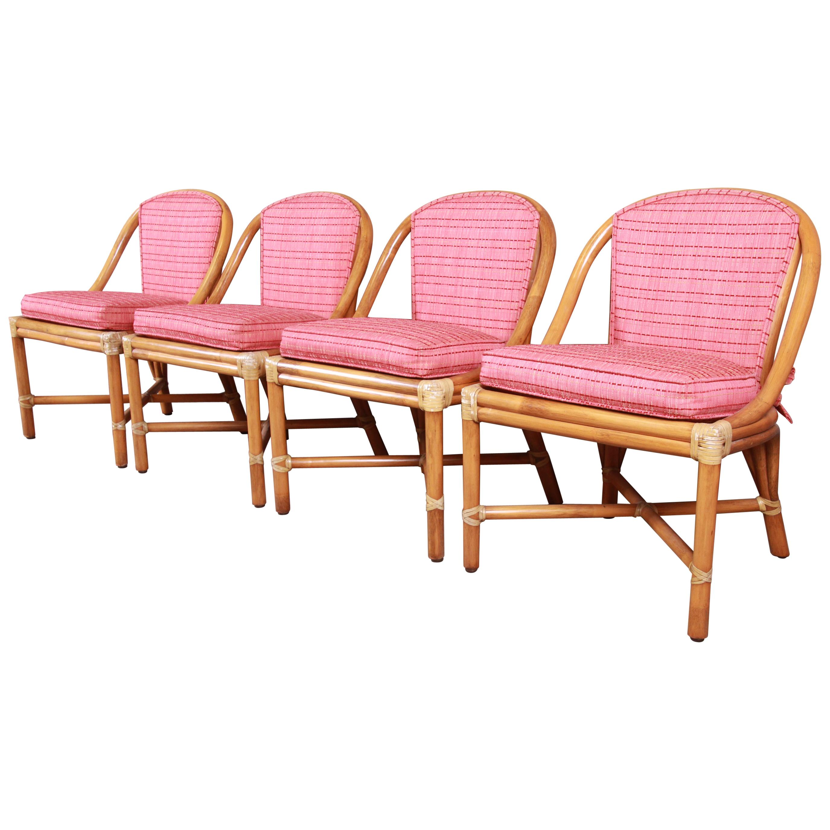 McGuire Hollywood Regency Organic Modern Bamboo Rattan Dining Chairs, Set of 4