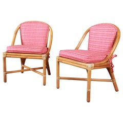 McGuire Hollywood Regency Organic Modern Bamboo Rattan Slipper Chairs, Pair