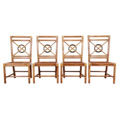 "McGuire Hollywood Regency Rattan ""Target"" Dining Chairs, Set of Four"