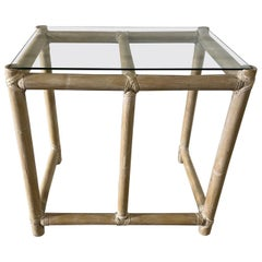 McGuire Lacquered Bamboo Side Table with a Glass Top, 20th Century