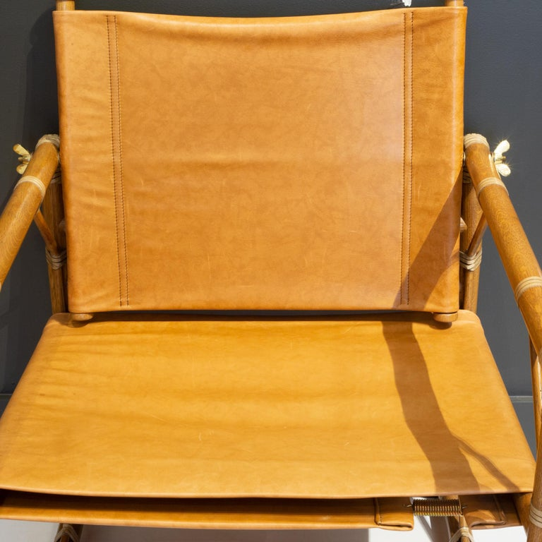 McGuire Leather and Teak Officer's Chair and Ottoman 7