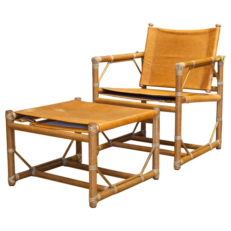 McGuire Leather and Teak Officer's Chair and Ottoman