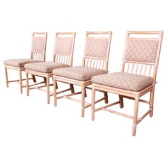 McGuire Midcentury Hollywood Regency Bamboo Rattan Dining Chairs, Set of Four