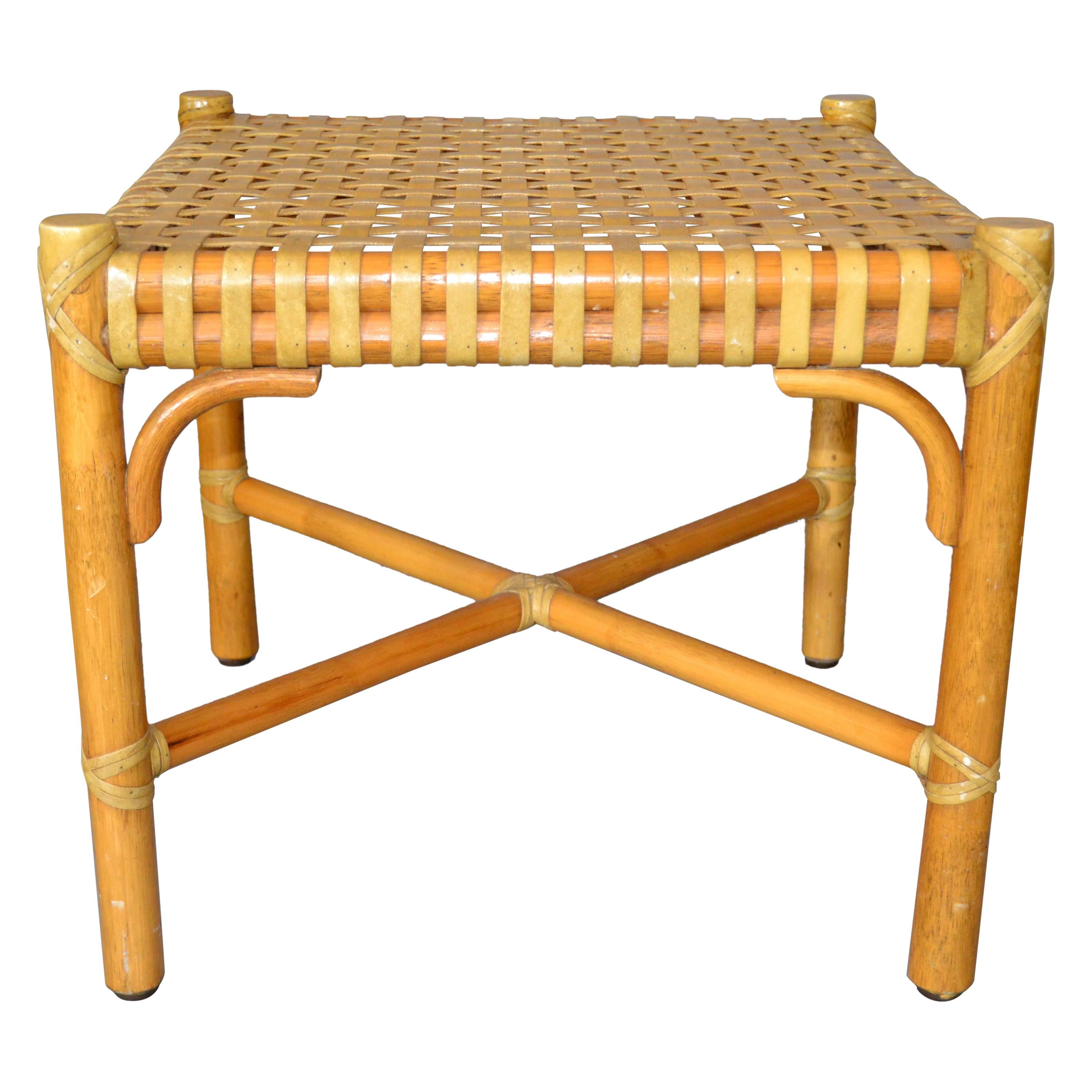 McGuire Mid-Century Modern Bamboo and Handwoven Leather Top Side Table, Stool