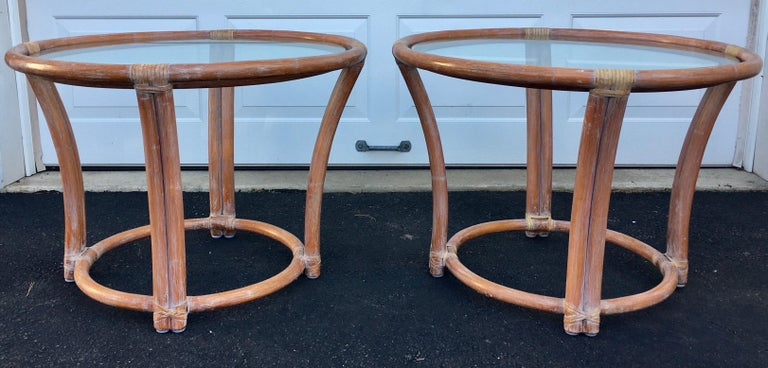 Mid-20th Century McGuire Mid-Century Modern Bentwood Rattan Glass Round Side End Tables, Signed For Sale