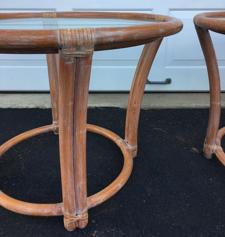 McGuire Mid-Century Modern Bentwood Rattan Glass Round Side End Tables, Signed For Sale 4