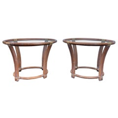 McGuire Mid-Century Modern Bentwood Rattan Glass Round Side End Tables, Signed
