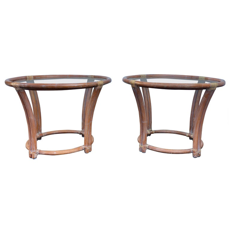 McGuire Mid-Century Modern Bentwood Rattan Glass Round Side End Tables, Signed For Sale