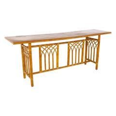 McGuire Mid Century Rattan Console Table