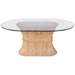 McGuire Midcentury Bamboo Pedestal Dining Table