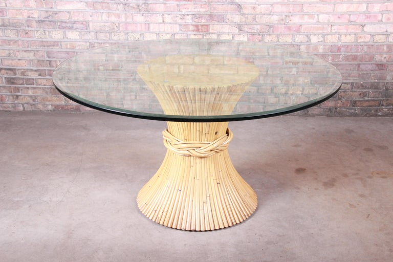 Mid-Century Modern McGuire Midcentury Hollywood Regency Bamboo Sheaf of Wheat Pedestal Dining Table For Sale