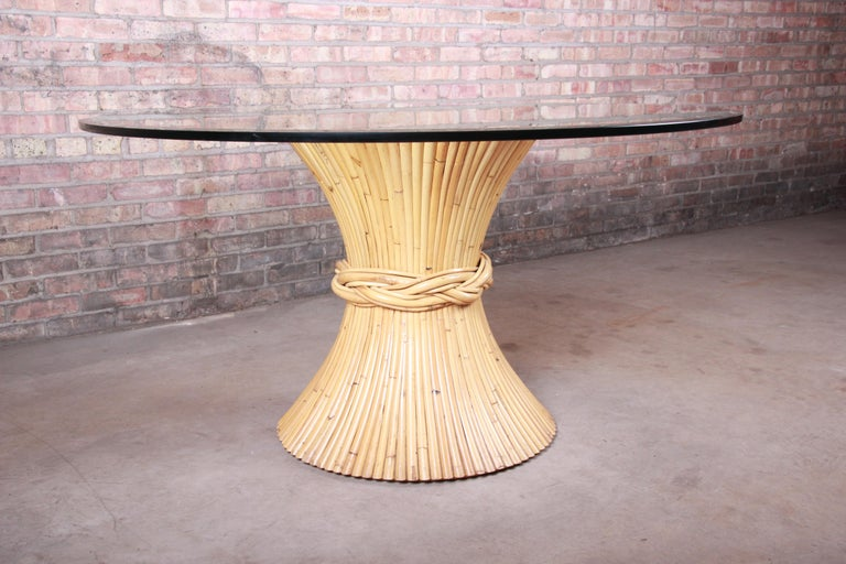 American McGuire Midcentury Hollywood Regency Bamboo Sheaf of Wheat Pedestal Dining Table For Sale