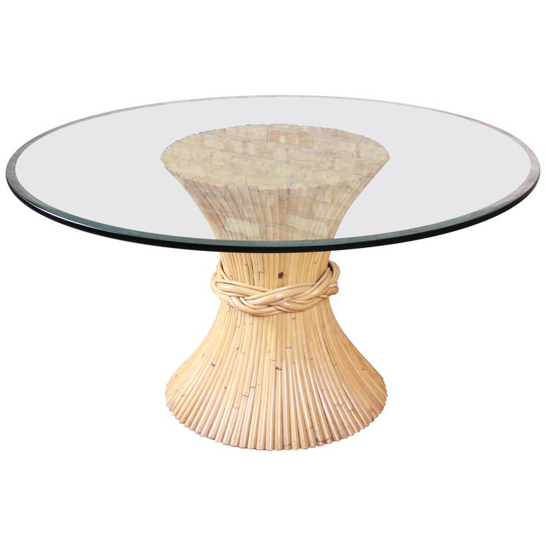 McGuire Midcentury Hollywood Regency Bamboo Sheaf of Wheat Pedestal Dining Table For Sale