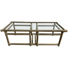 McGuire Midcentury Lacquered Bamboo Coffee Table with a Glass Top, 20th Century