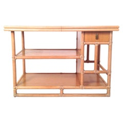 McGuire Natural Bamboo, White Laminate and Brass Expandable Bar Server Buffet