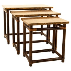 McGuire of California Style MCM Bamboo/Burl Wood Laminate Nesting Tables