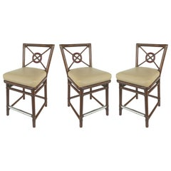 McGuire Rattan and Leather Counter Bar Stools, Set of Three