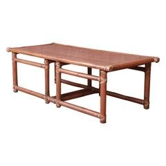McGuire Organic Modern Bamboo and Mahogany Coffee Table, Circa 1960s