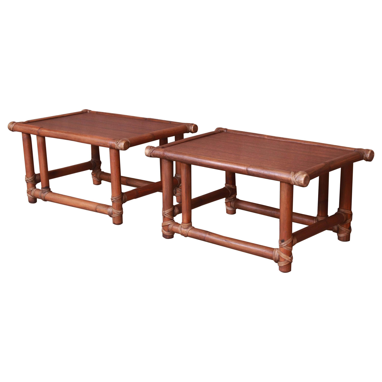 McGuire Organic Modern Bamboo and Mahogany Side Tables, Circa 1960s