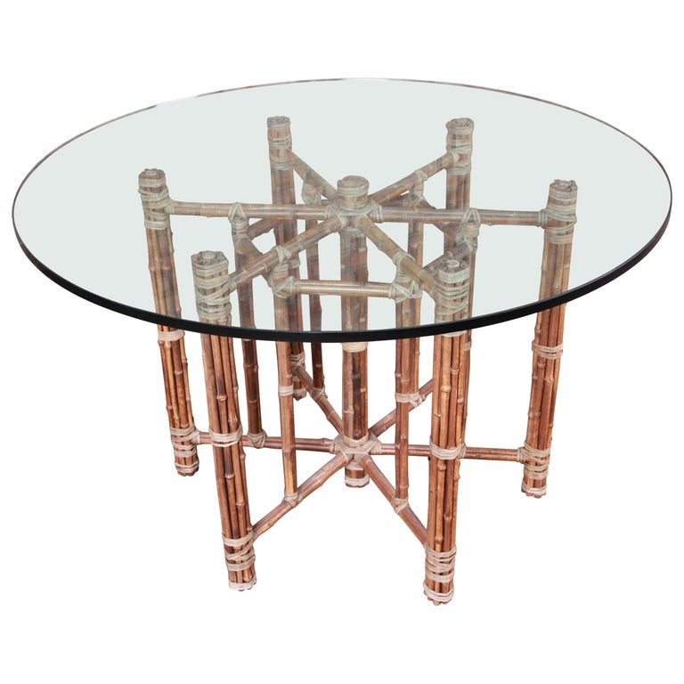 McGuire Organic Modern Bamboo, Rattan, and Leather Glass Top Dining Table For Sale