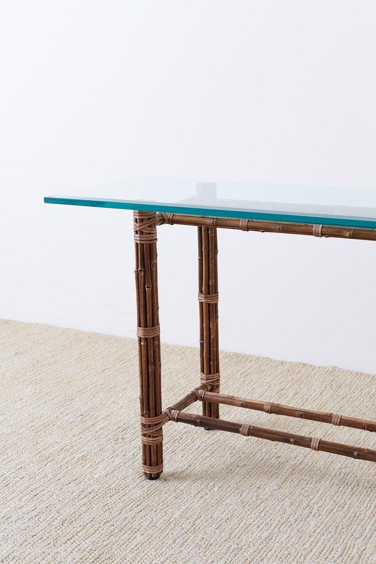 Mcguire Organic Modern Bamboo Rattan Console Sofa Table At
