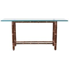 McGuire Organic Modern Bamboo Rattan Console Sofa Table