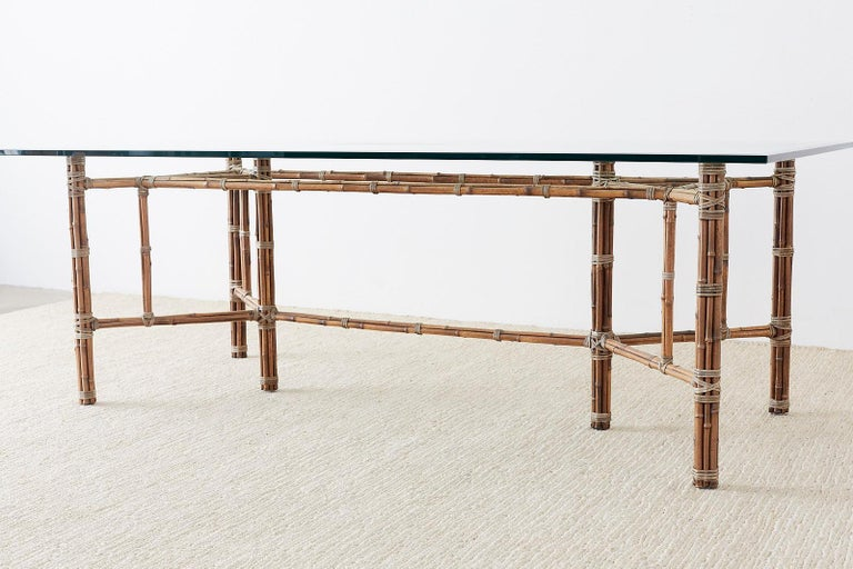 American McGuire Organic Modern Bamboo Rattan Glass Dining Table For Sale