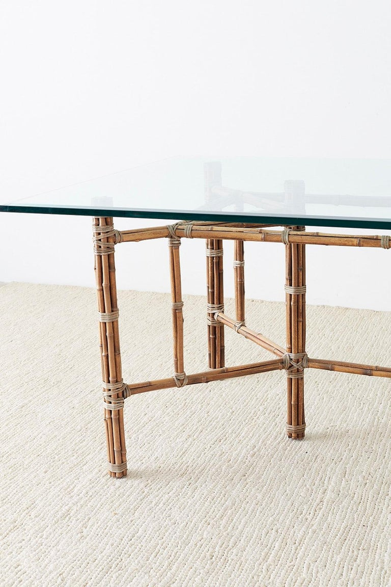 Beveled McGuire Organic Modern Bamboo Rattan Glass Dining Table For Sale