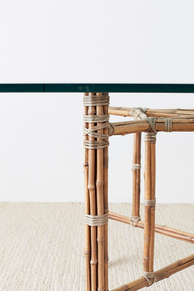 McGuire Organic Modern Bamboo Rattan Glass Dining Table In Good Condition For Sale In Oakland, CA