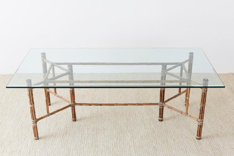 20th Century McGuire Organic Modern Bamboo Rattan Glass Dining Table For Sale