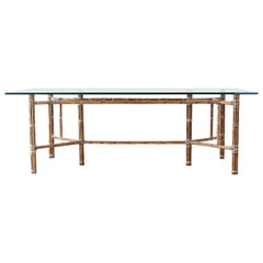 McGuire Organic Modern Bamboo Rattan Glass Dining Table