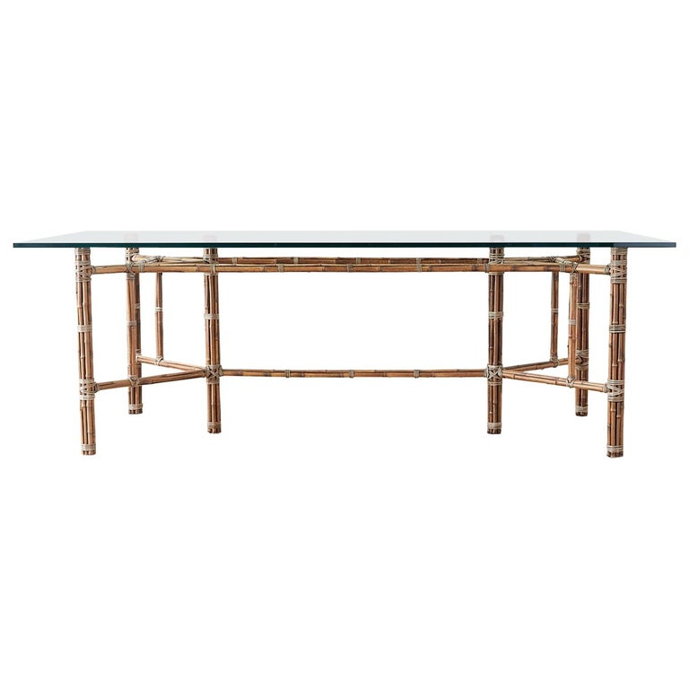 McGuire Organic Modern Bamboo Rattan Glass Dining Table For Sale
