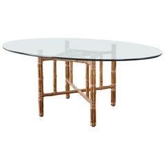 McGuire Organic Modern Bamboo Rattan Oval Dining Table
